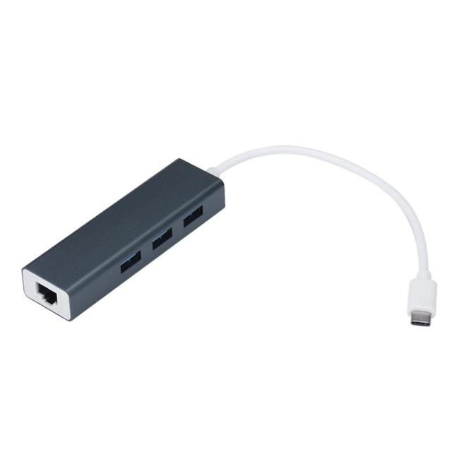 Belo Gif Novo Tipo USB3.1-C para RJ45 Ethernet LAN Adaptador com 3 Portas USB 3.0 Hub Para MacBook Atacado preço Jan07