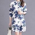 2016 New Spring Autumn Shirts Women Casual Long Sleeve Printed Cotton linen Shirt Women Tops Blusas 2 Colors plus size