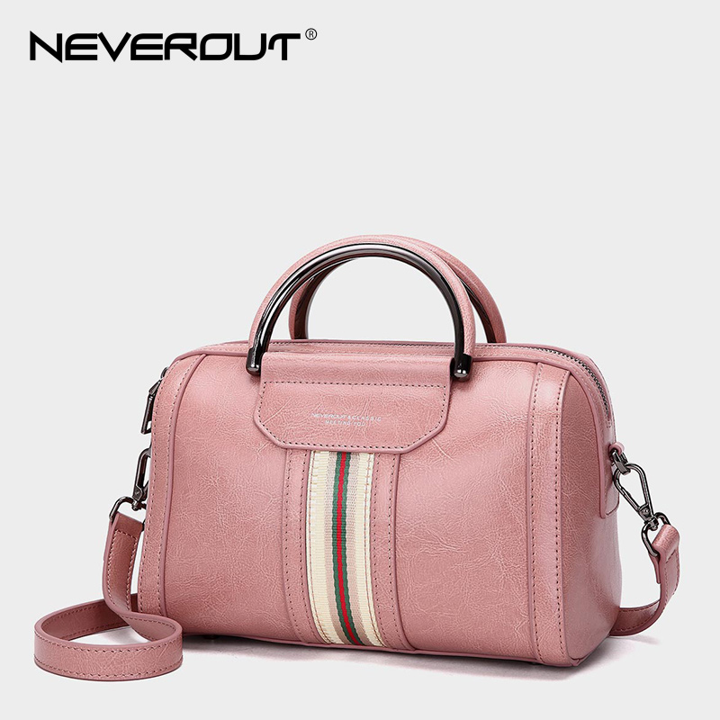 NEVEROUT Oil Wax Style Split Leather Bag for Women Vintage Boston Bag Shoulder Sac 3 Color Handbags Tote Zipper Tote New Handbag neverout oil wax style split leather bag for women vintage boston bag shoulder sac 3 color handbags tote zipper tote new handbag