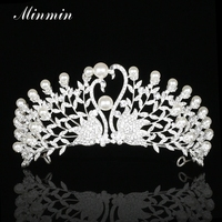 Minmin Luxury Peacock Simulated Pearl Tiaras And Crowns Crystal Silver Plated Bridal Wedding Hair Jewelry Accessories