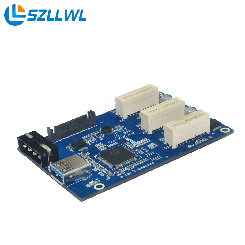 PCI express to 3 mini pci-express ports Riser Card Mini ITX to external 3 PCI-E slot adapter Cards for bitcoin miner