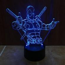 цена на JAYOR 7 Color Changing Hero Deadpool 3D light LED Night Light USB touch LED Decorative LED Table Lamp Colorful Desk Lighting
