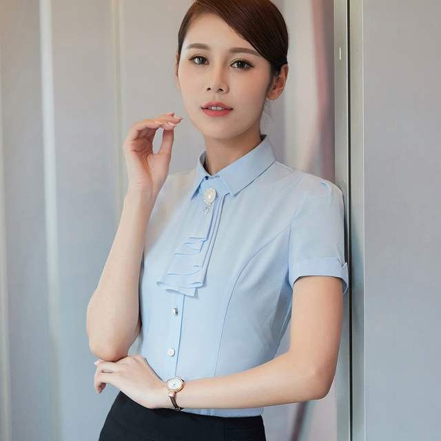 0c1988e0140 Online Shop New Ladies Office Summer Wear Shirts 2018 Work Women Tops Short  Sleeve Purple Fashion Blouse Femme Largest Size 4XL