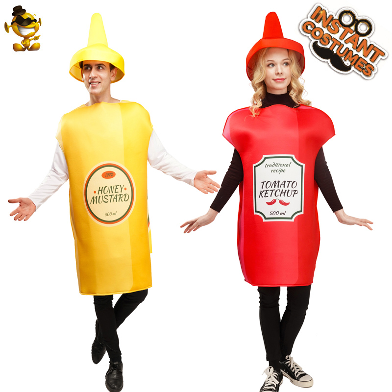 Ketchup and Mustard Costume Fancy Dress Halloween&Carnival Couples Costumes for Adults Mascot Food Costumes image
