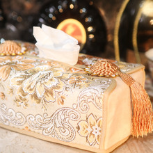 Gold fashion palace embroidery gold silk embroidered European tissue box, tissue set A1 original order цена