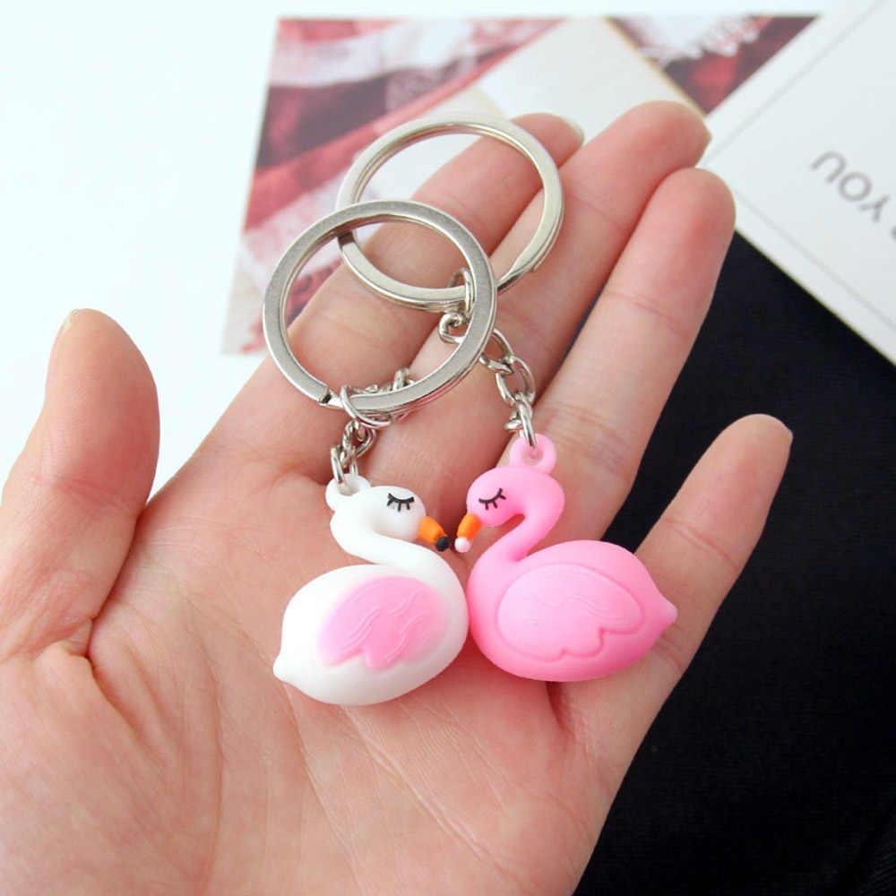 Bonito Chaveiro Flamingo Chaveiro Bonito PVC Animais Saco Anel de Chaveiro Carro das mulheres Chaveiro Llaveros Presentes