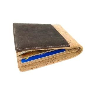 Image 4 - Hot Selling Bifold Kurk Portemonnee Mannen Korte Portefeuilles Vegan Lederen Card Wallet Beige Bruin Kleur