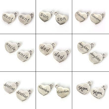 "4pcs 18x15mm Antique Silver Family Letter""Son Daughter Brother Mom Dad""Heart-Shaped Metal Pendant DIY Charms Jewelry Accessories(China)"