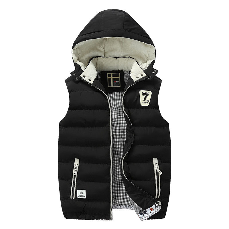 Brand Winter Men's Vest Designer Fashion Hooded Plus Size New Thicken Casual Parkas Vest For Men Pull Homme L~3XL B8F1618