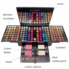 MISS ROSE Brand 180 Colors Super Makeup Eyeshadow Palette Powder Blusher Lips Eyebrow Professional Make Up Kit Maquiagem Tools
