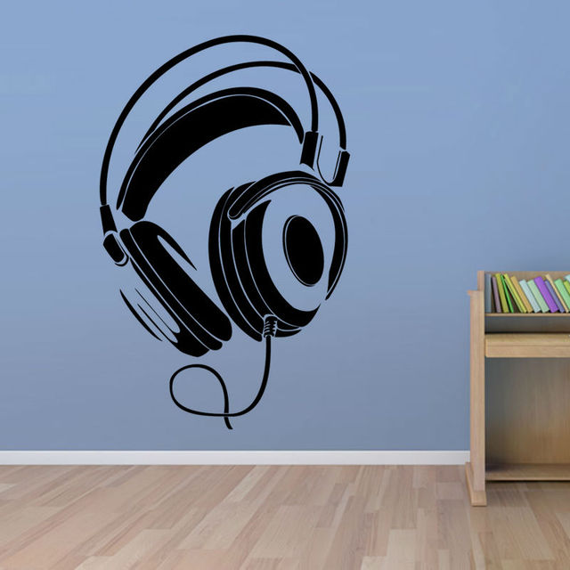 Music DJ Headphones Wall Stickers Boys Room Wall Decor Vinyl Decals Fashion  Design Home Decoration