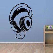 Музыка DJ Наушники Стены Стикеры Мальчики Номер Декор Стены Виниловые Наклейки 2016 Дизайн Моды Украшение Дома
