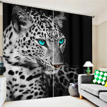 New Cafe Office 3D Blackout Curtains Silver Snow Leopard Animals Pattern Fabric Woven Children Bedroom for Living Room