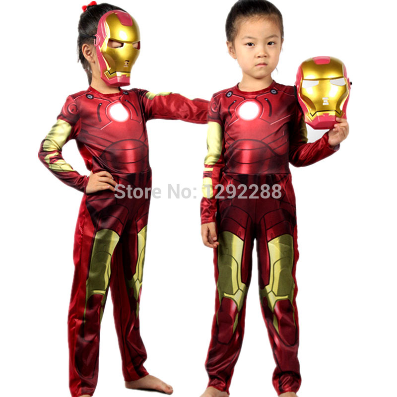 Free shipping,children the avengers Iron man costume with .stretchy party clothes ,clothing for kid,3 sizes,4-12 ages
