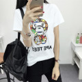short sleeved summer Korean large Code Monkey stamp graffiti half sleeve T-shirt bottoming loose clothing students