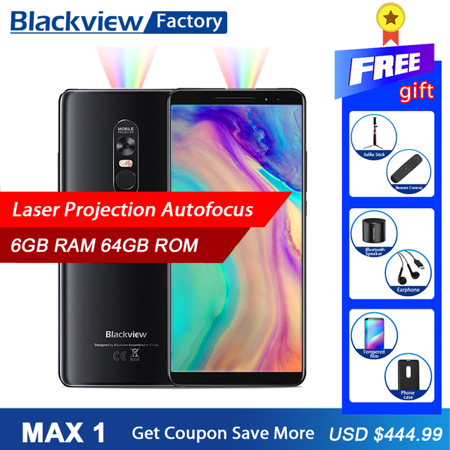 BLACKVIEW MAX 1 Smartphone Laser Projection 6GB 64GB Android 8.1 6.01 inch Octa core Mobile Phone 16MP NFC 4G 4680mAh cell phone