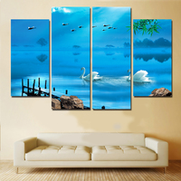 Luxury Elegant 4 PCS Canvas Modern Wall Painting Blue Water Lake Home Decoration Art Picture Paint On Canvas Prints Artworks