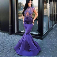 Фиолетовый бюст See Through Appliuques Оболочка Русалка Для женщин платье для выпускного вечера Горячая леди пикантные Выпускной Homecoming Формальное Ма