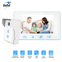 Saful 7 Inch Wired Video Door Phone Waterproof LCD Video Intercom Touch key Night Vision For Home Electric Lock control