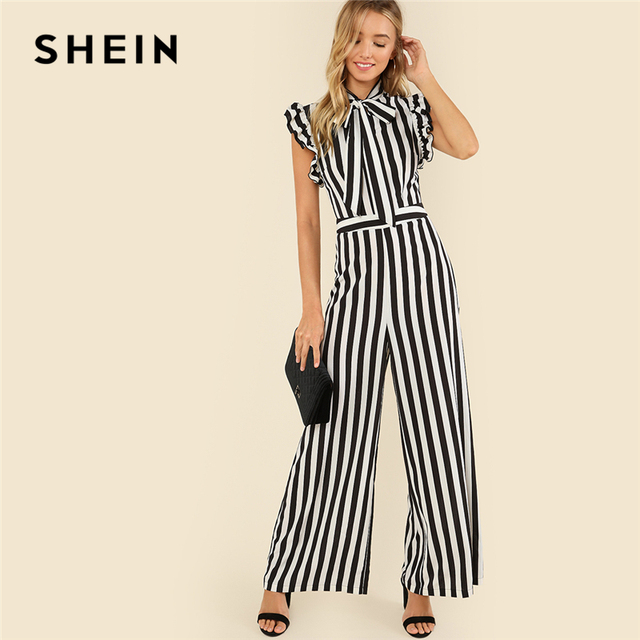 b23dc8a973e SHEIN Black and White Casual V Collar Sleeveless Tie Neck Ruffle Armhole  Striped Palazzo Jumpsuit Summer Women Workwear Jumpsuit