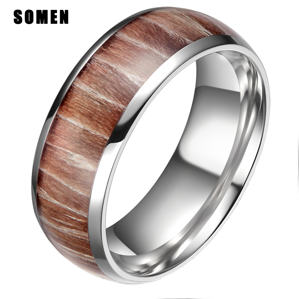 8mm Men Wood Inlay Ring Engagement Wedding Band Mahogany Wooden Inlay Ring Fort Fit Fashion Jewelry