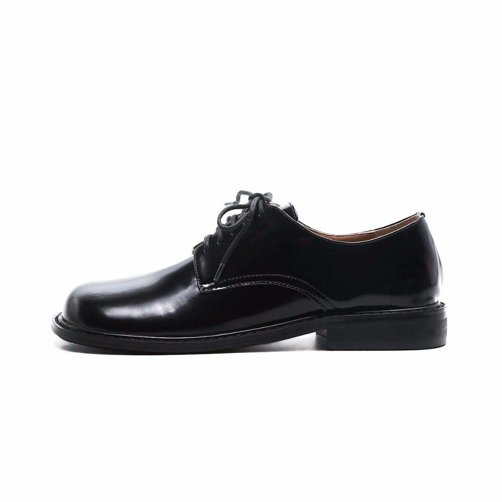 Femme Noir Cuir Krazing Pompes School À Printemps Bas Pot Rond Nouvelle L73 En Bout Style Talons British Véritable Étrange Marque Lacent Chaussures nOk8wP0