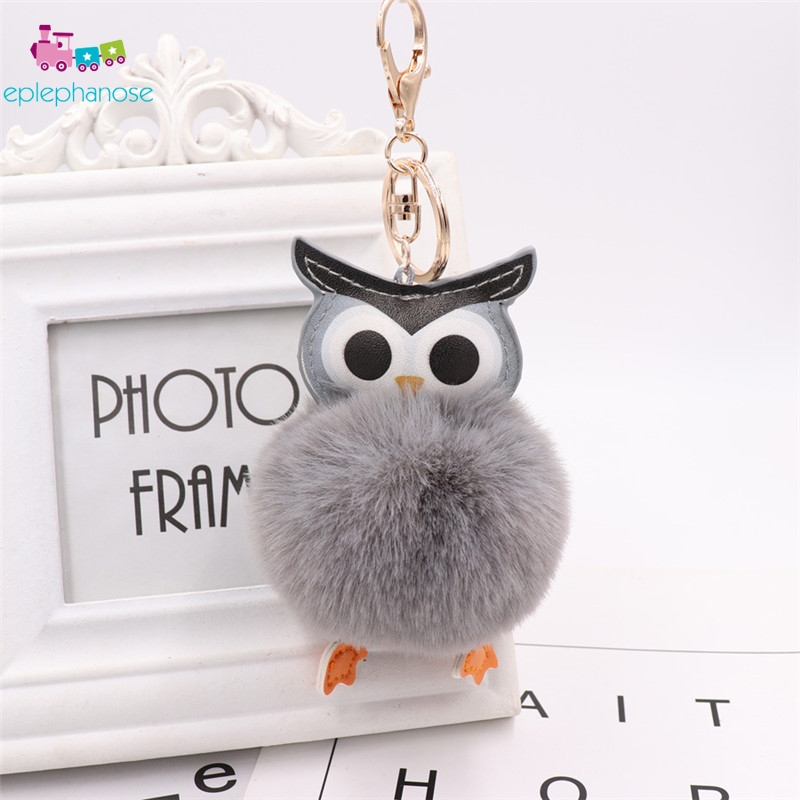 Cute Fluffy Ball Owl Pom Pom KeyChain Plush Toys Women Leather Faux Bunny Rabbit Fur Keyring Stuffed Toy Bag Car Mini Doll Gifts