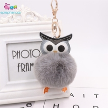 Cute Fluffy Ball Owl Pom Pom KeyChain Plush Toys Women Leather Faux Bunny Rabbit Fur Keyring Stuffed Toy Bag Car Mini Doll Gifts цена 2017