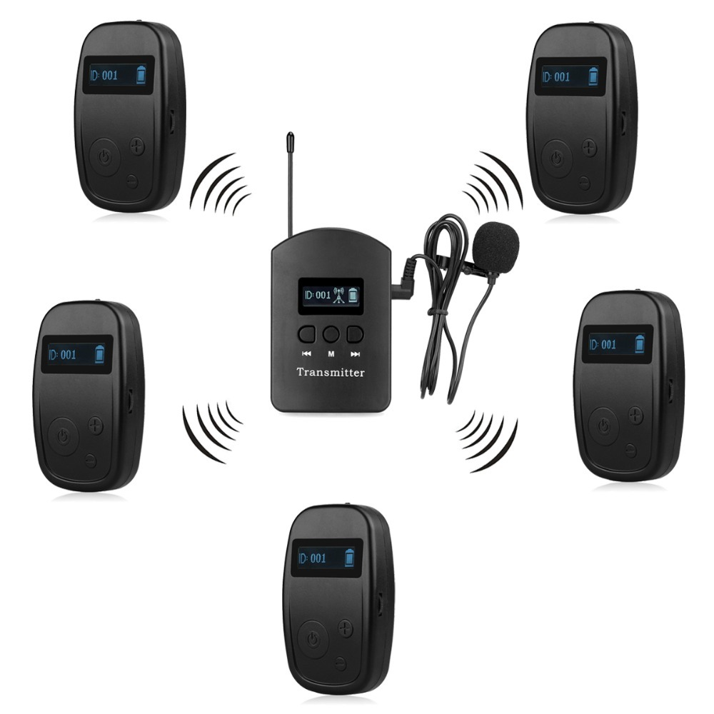ANDERS UHF Wireless Tour Guide System for Church Listening Teaching Traveling Conference Interpretation F4524 blueskysea atg100 wireless tour guide system 1transmitter 15 receivers charger for meeting visiting teaching 195 230mhz portable