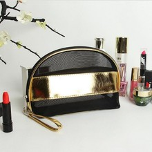 Korean version of transparent black net handbags women cosmetic bag wash hand holding mini cute makeup