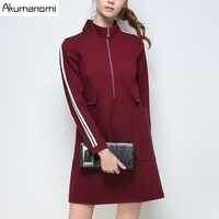 Dress Solid Wine Red Black Stand Collar Full Sleeve Pocket Women's Clothing Autumn Winter Dress Plus Size 5XL 4XL 3XL 2XL XL L M