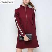 Dress Solid Wine Red Black Stand Collar Full Sleeve Pocket Women S Clothing Autumn Winter Dress