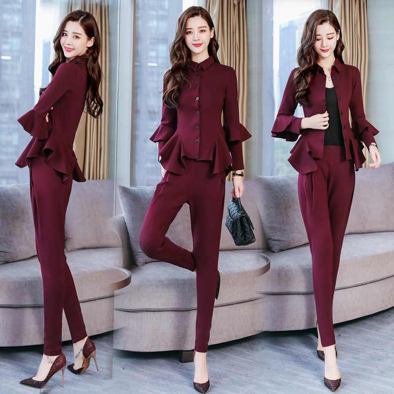 Stylish Two Piece Set Top And Pants Woman Suit Trendy Ol Ensemble Femme  Survetement Conjunto Feminino 748b83e3698d