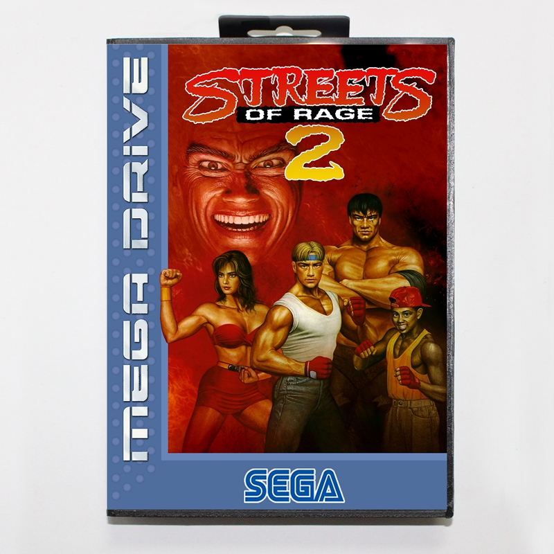 Sega MD games card - Streets of Rage 2 with box for Sega MegaDrive Video Game Console 16 bit MD card