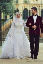 Long Sleeves White Ball Gown Wedding Dress font b Hijab b font High Neck White Debutante