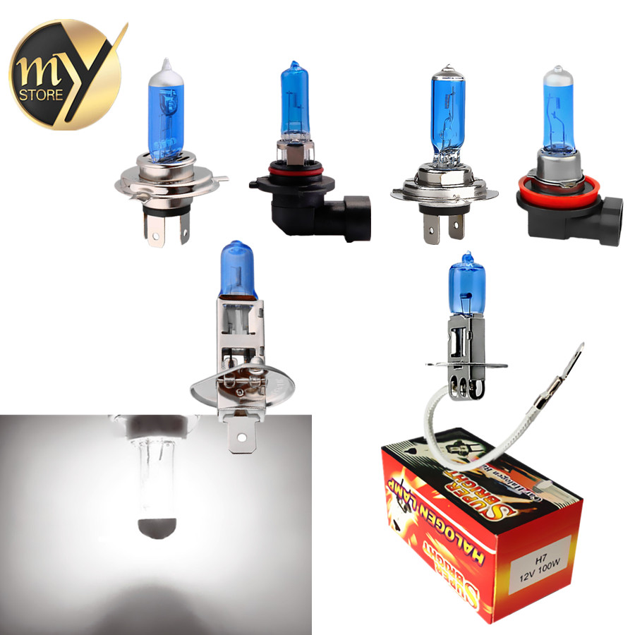 H1 H3 H4 H7 H8 H9 H11 9005 HB3 9006 HB4 Halogen Bulbs 55W 100W 12V Super Bright White Car Lights 6000K Auto Lamp Car Headlight