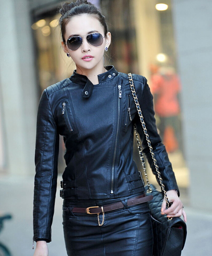 2015 New Fashion Women Black Zipper Coat Ladies Slim Crop ...