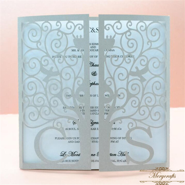 Bright Silver Custom Initials Laser Cut Tree And Dove Pattern