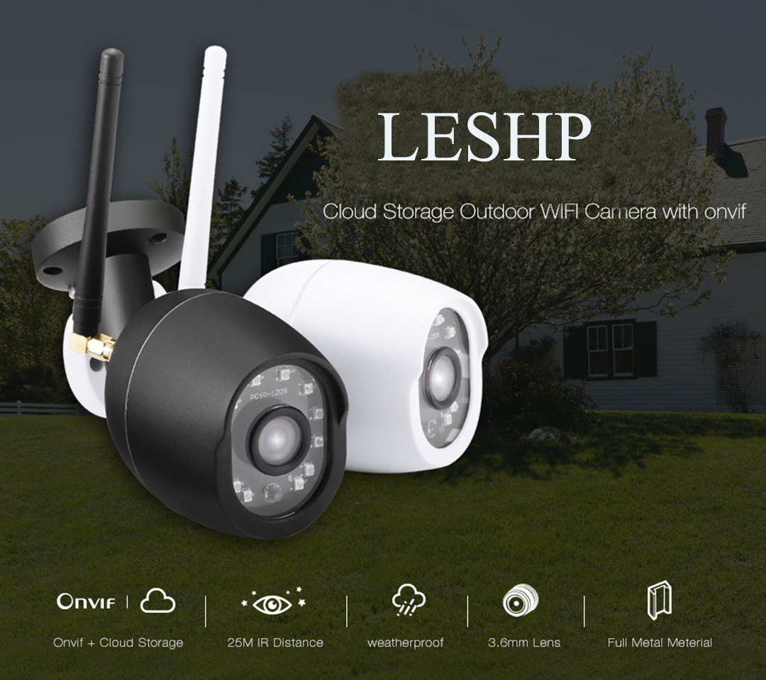 LESHPCCTV 720P Wifi Light Sound Alarm Outdoor IP Camera IR 25m H.264 ONVIF Network Camera TF Card Slot Waterptoof Bullet Web CamLESHPCCTV 720P Wifi Light Sound Alarm Outdoor IP Camera IR 25m H.264 ONVIF Network Camera TF Card Slot Waterptoof Bullet Web Cam