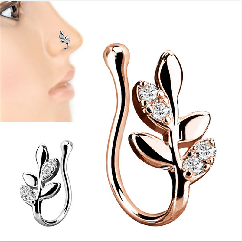 Jewelry & Accessories Search For Flights Copper Crystal Leaves False Nose Ring Earring Body Piercing Fake Septum Rings & Studs For Women Ear Clip Non Piercing Jewelry Jewelry Sets & More