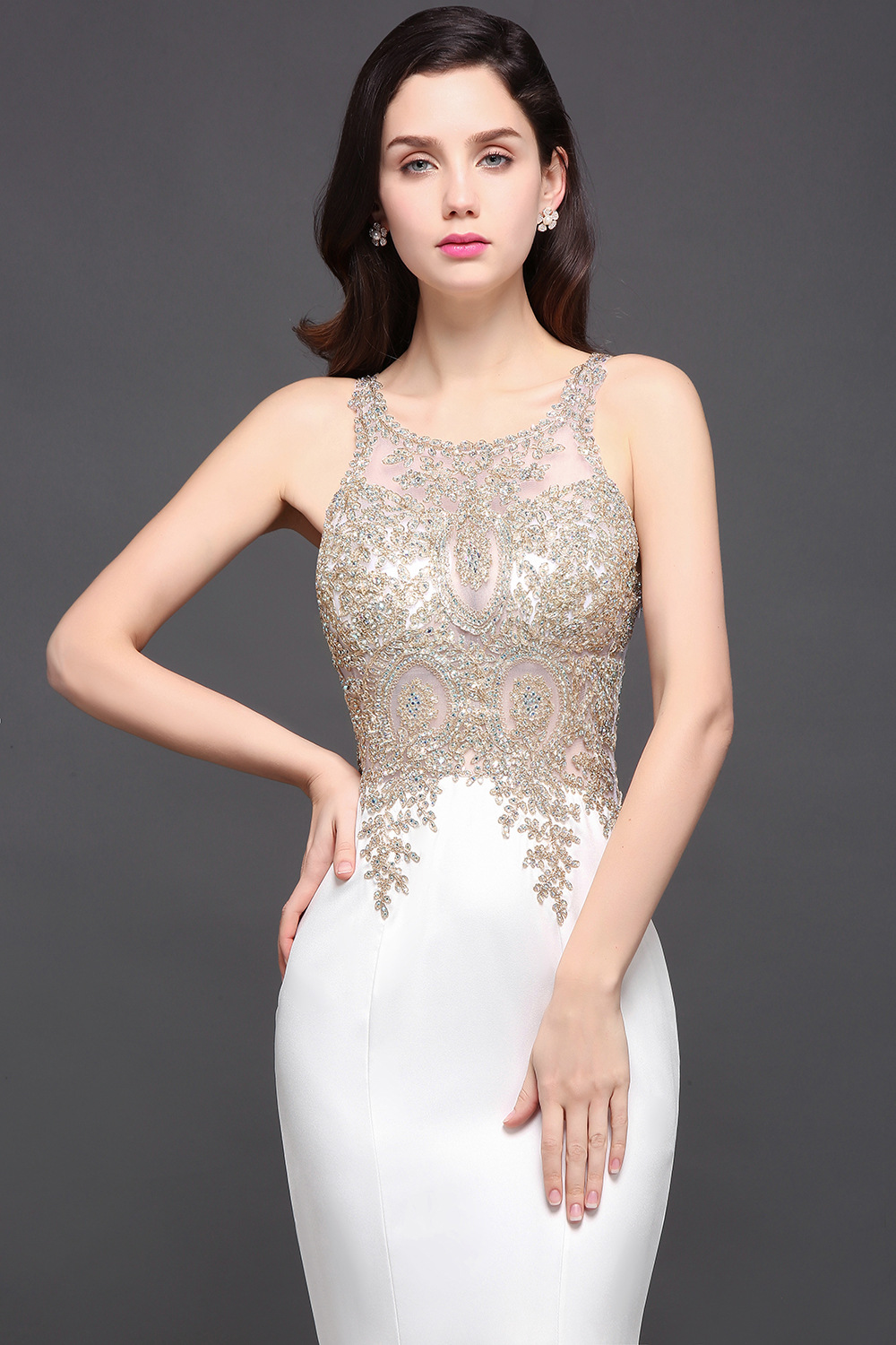 Vestido De Festa Illusion Crew Neck White Mermaid Long Evening Dresses 2017 Lace Applique Beaded Formal Party Prom Dresses