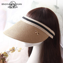 лучшая цена BING YUAN HAO XUAN Cute Bow Sun Hat Female Beach Hat Straw Visor Cap Brim Summer Hats for Women Chapeau Femme Sun Visor Girls