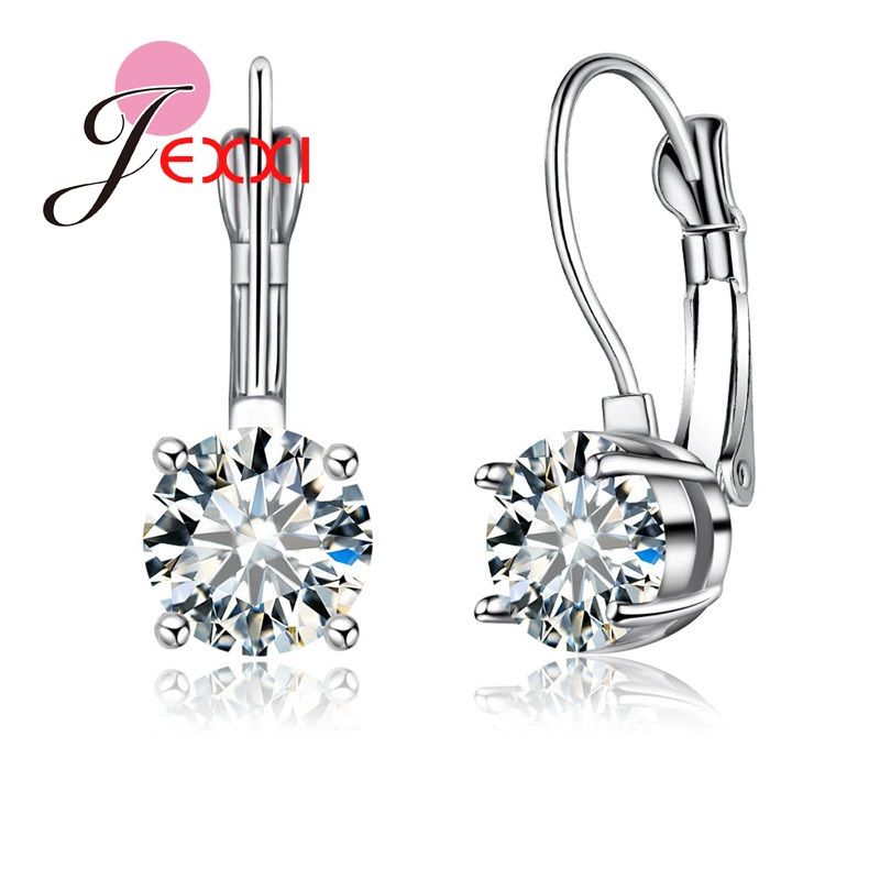 JEXXI Classic Romantic Style Women Crystal Earring For Engagement Wedding Party Jewelry Accessary S925 Silver Earrings Hot Sale