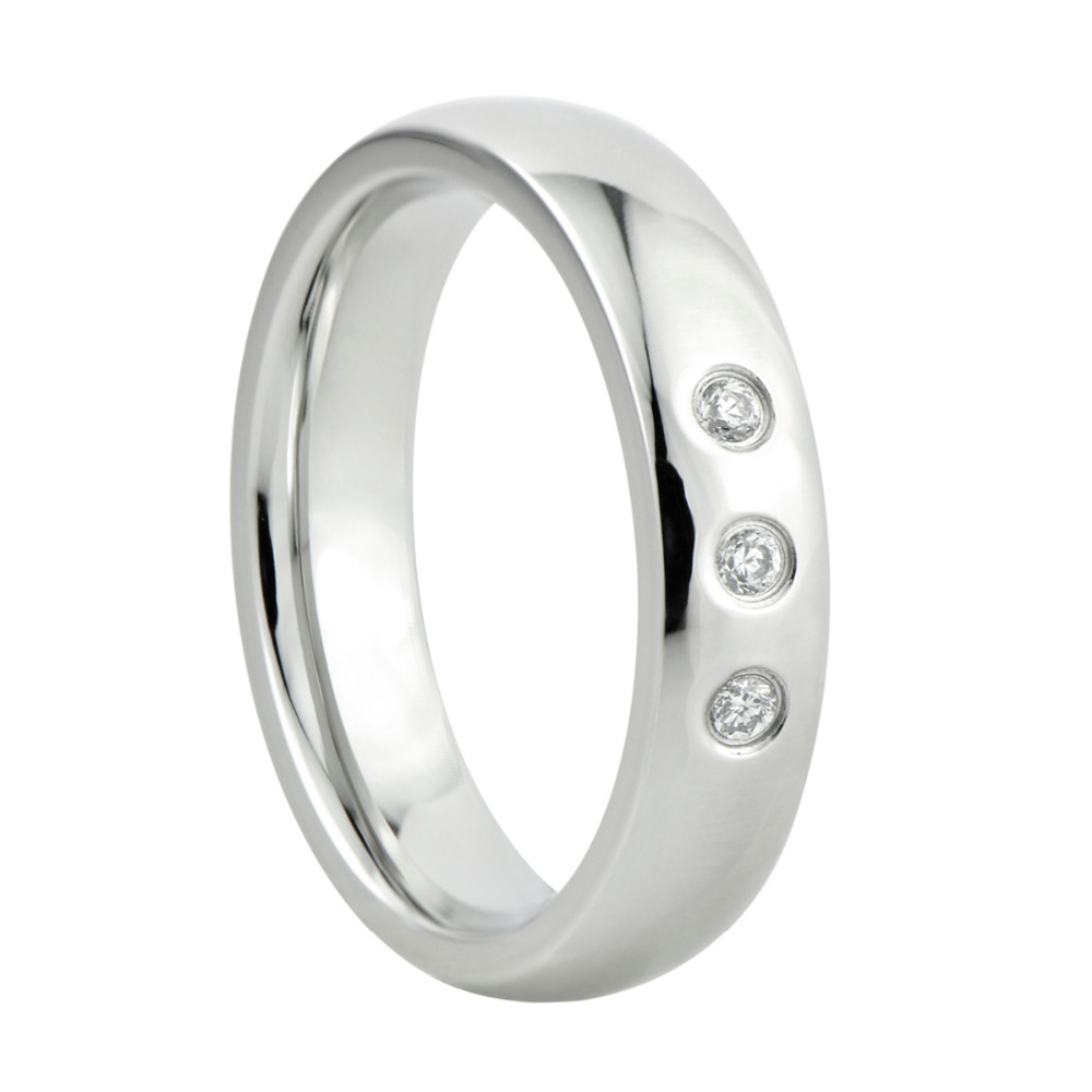 wedding band 316L stainless steel ring  with three CZ stone inlaid gift for Xmas