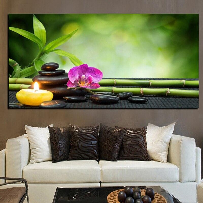 € 17.21 15% de réduction|Grande taille impression moderne orchidée Zen Spa  pierre bambou bougies peinture à l\'huile sur toile affiche mur Art photo ...