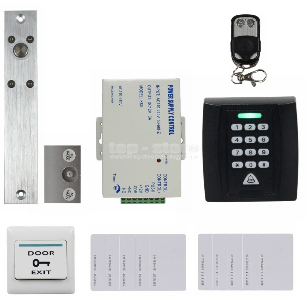 DIYSECUR Electric Bolt Lock 125KHz RFID Password Keypad Access Control System Security Kit + Door Lock + Remote Control KS158 diysecur 125khz rfid metal case keypad door access control security system kit electric strike lock power supply 7612