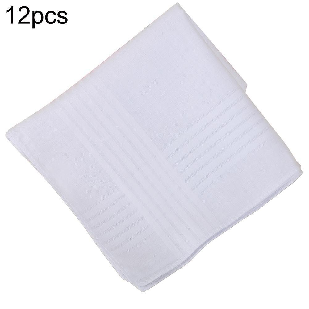12Pcs 40cm White Cotton Square Pocket Handkerchief Sweat Towel Party Suit Hanky