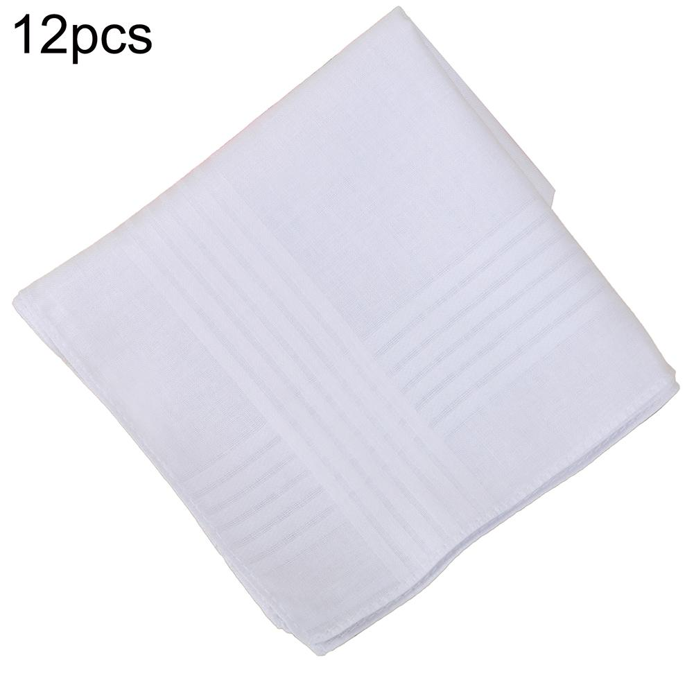 12pcs Cotton Pocket Square White Solid Handkerchief Chest Towel Prom Holiday Party Suit Hankie Vintage Gift Hankies