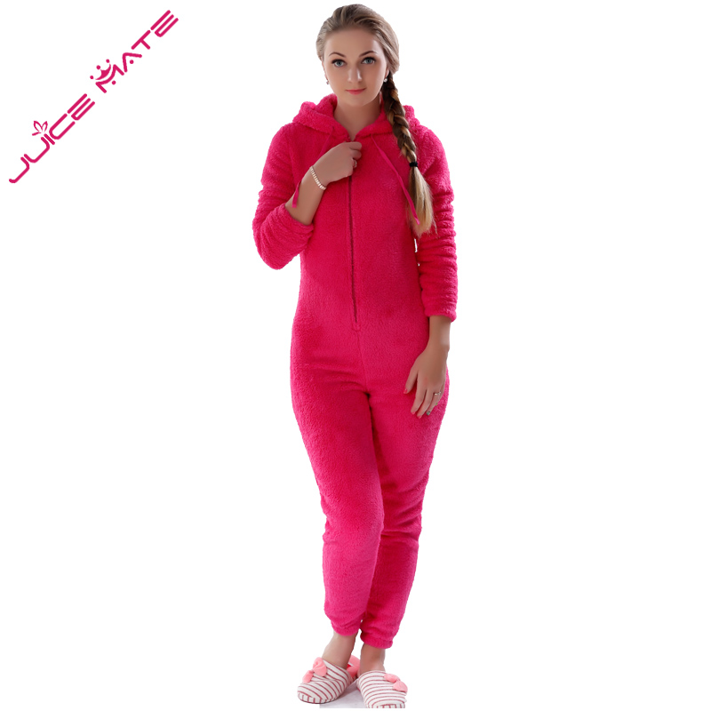 JUICE MATE Plus Size Fluffy Fleece Pyjama Onesie Pink Hot Pink ...
