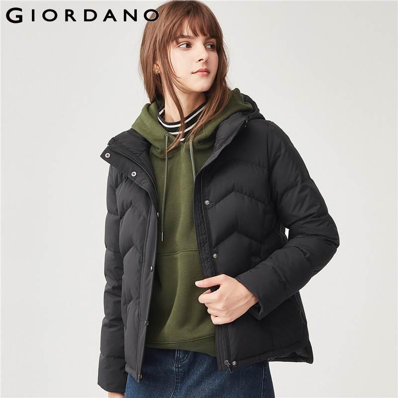 Giordano Women Down Jacket Women 90 Content Grey Goose Down Detachable Down Jacket Hidden Pocket Side